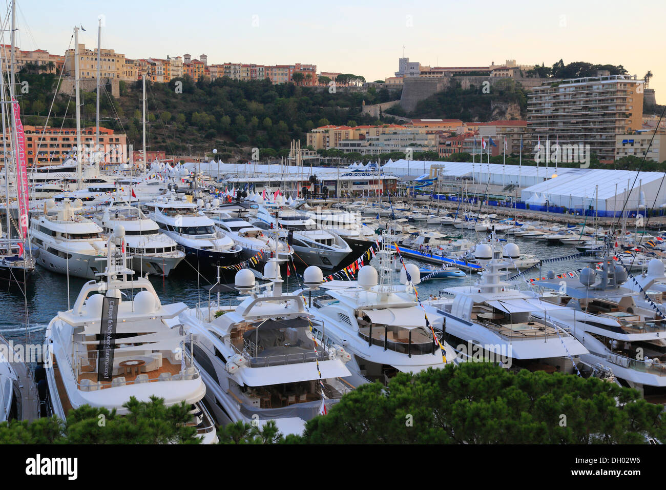 Monaco Yacht Show 2012, Port Hercule in the evening, Prince's Palace at the rear, Principality of Monaco, Cote d'Azur Stock Photo