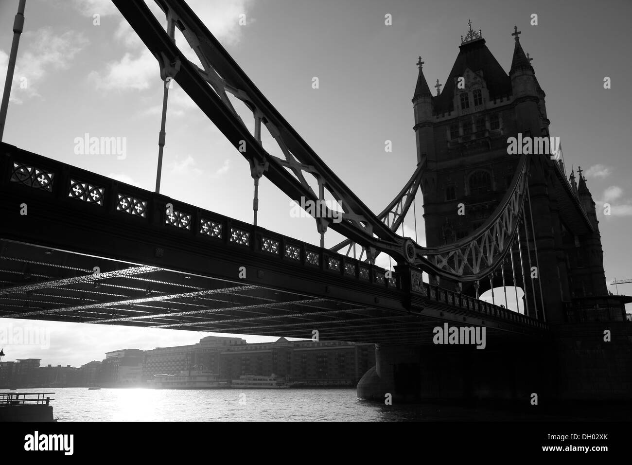 Tower Bridge with backlighting in the morning, River Thames, City of London, London, London region, England, United Kingdom - Stock Image