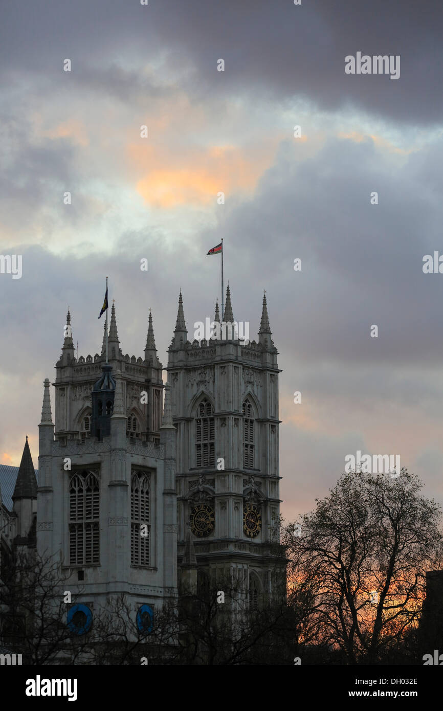 Westminster Abbey in the evening, City of Westminster, London, London region, England, United Kingdom - Stock Image