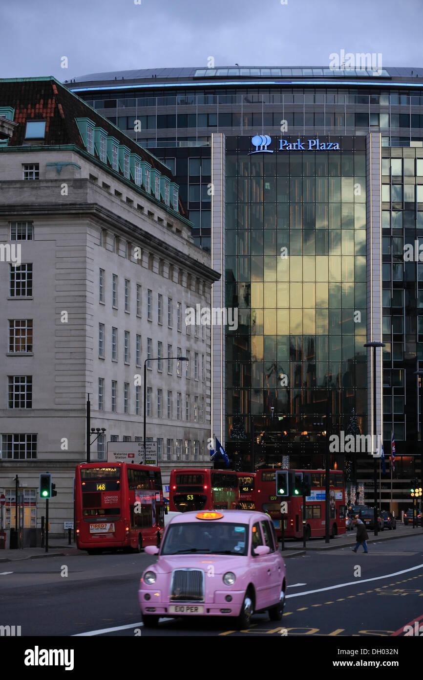 Park Plaza Hotel as seen from Westminster Bridge, Lambeth, London, London region, England, United Kingdom - Stock Image