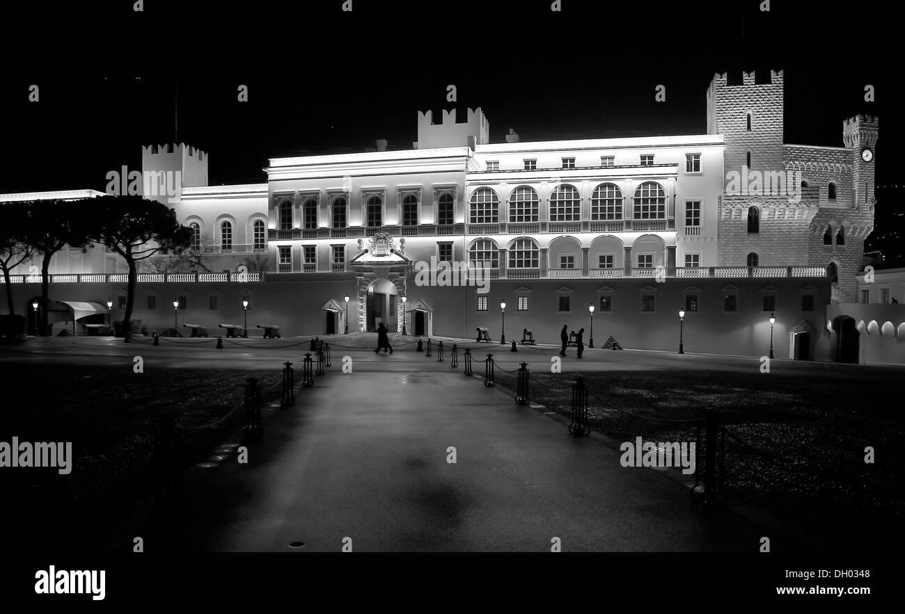 Prince's Palace in the evening, Altstadt Monaco, Fürstentum Monaco, Monaco - Stock Image