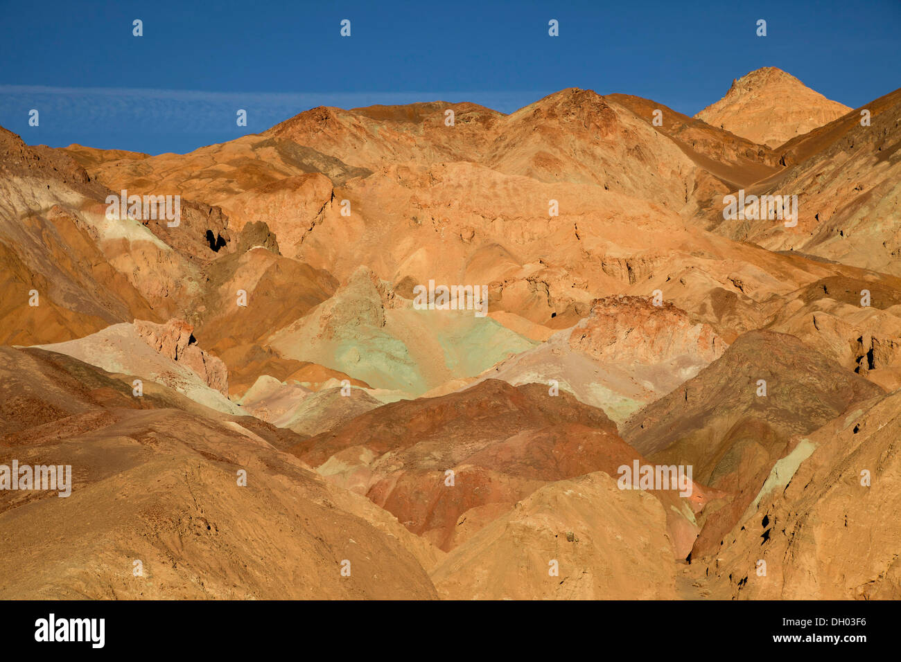 Tinted rocks at the Artist's Drive and the Artist's Palette, Death Valley, Death Valley, Death-Valley-Nationalpark, California - Stock Image