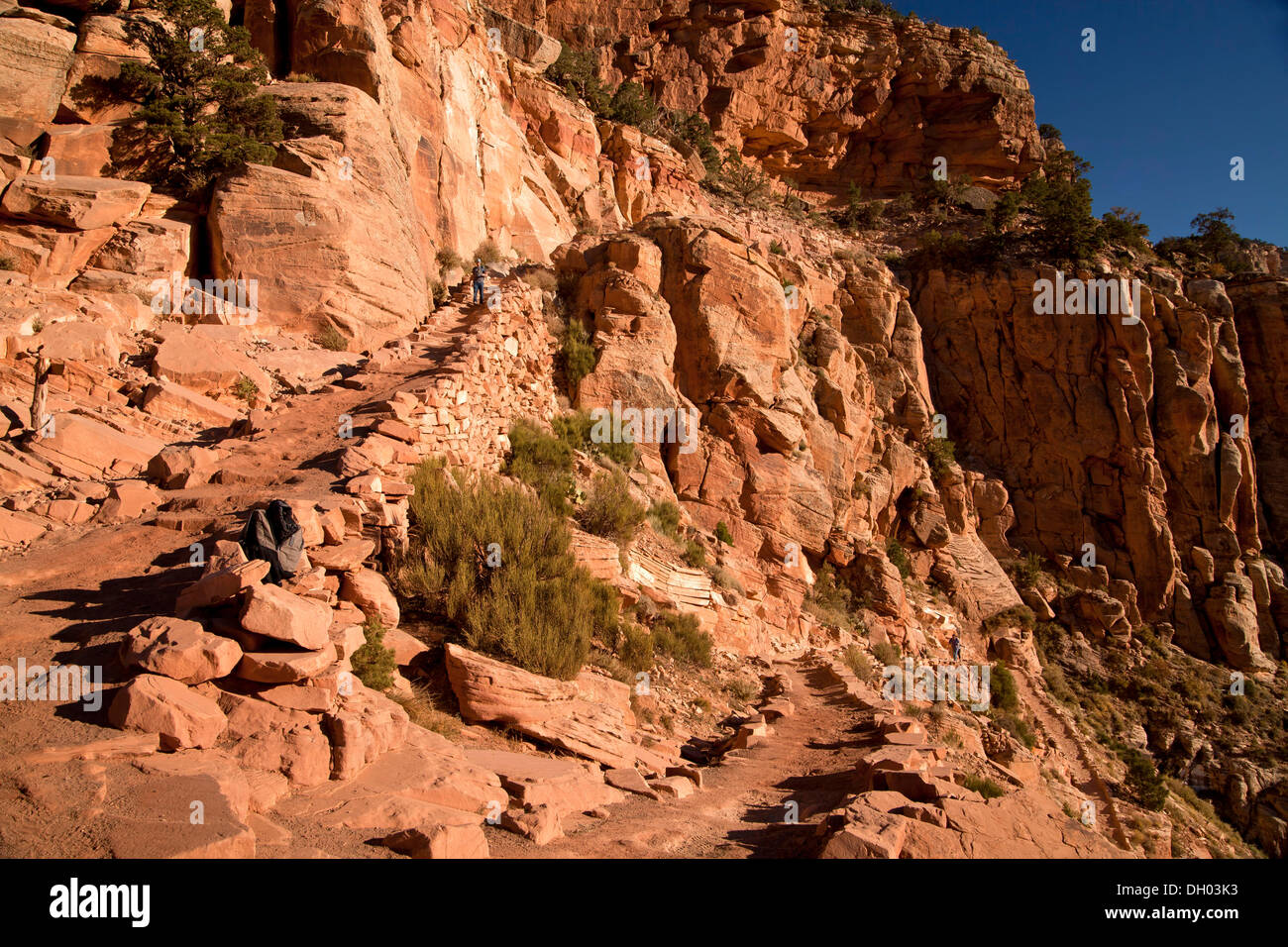 On the South Kaibab trail through Grand Canyon National Park, Grand-Canyon-Nationalpark, Arizona, United States - Stock Image