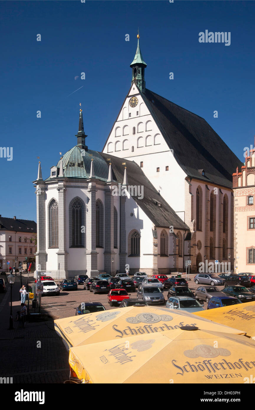 Untermarkt square with St. Mary's Cathedral, Freiberg, Erzgebirge, Ore Mountains, Saxony - Stock Image