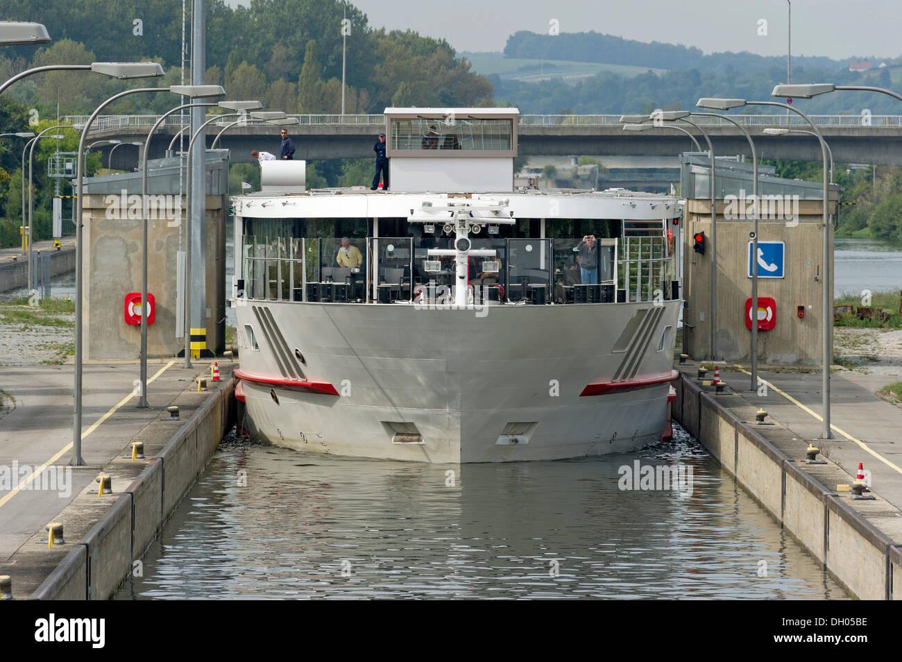 Riverboat, Viking Prestige, entering a lock, Rhine–Main–Danube Canal, Regensburg, Upper Palatinate, Bavaria - Stock Image