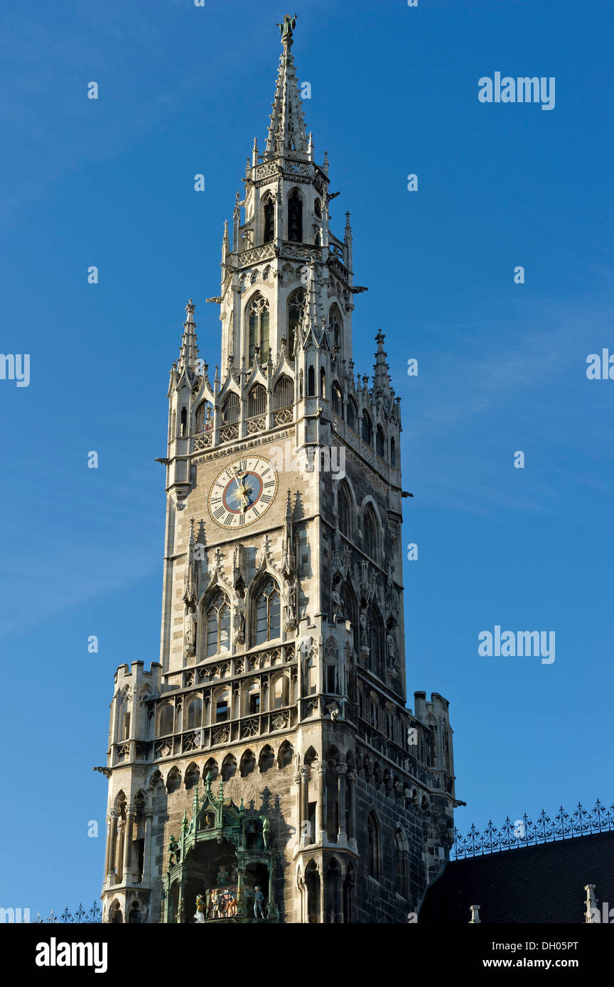 Spire, New Town Hall, Marienplatz, Munich, Upper Bavaria, Bavaria, Germany - Stock Image
