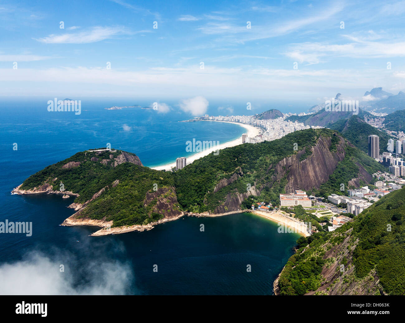 Aerial view of Rio de Janeiro and coastline, Brazil with Copacabana beach in distance - Stock Image