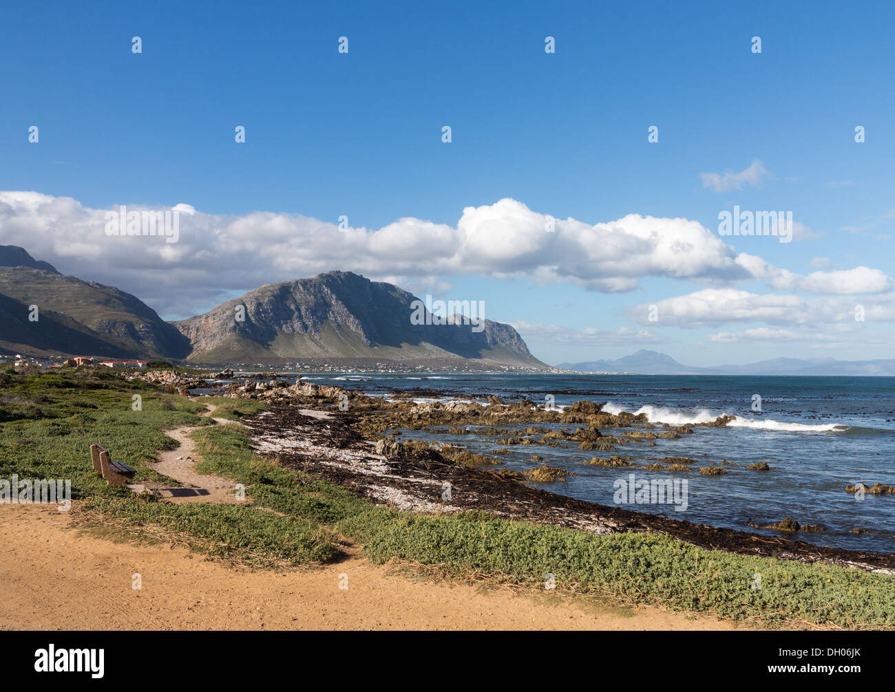 Rocky shoreline of Betty's Bay in Western Cape South Africa - Stock Image