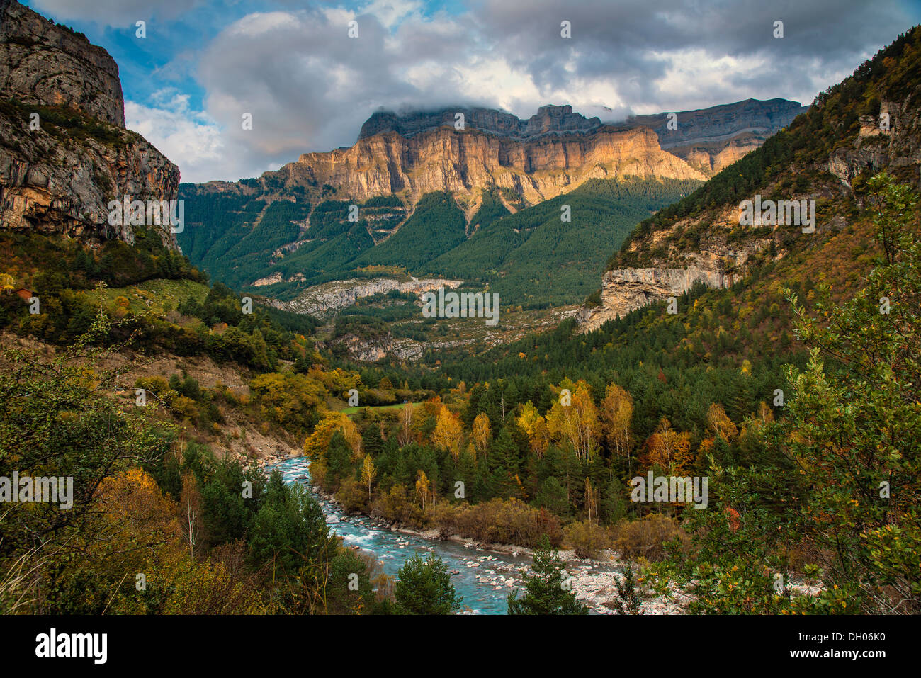 Autumn landscape in Ordesa and Monte Perdido National Park, Huesca, Aragon, Spain Stock Photo