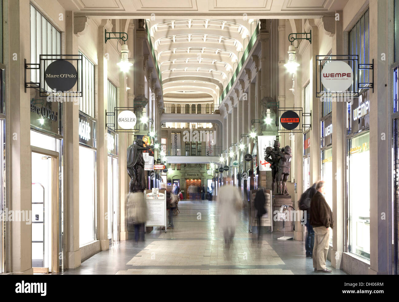 Maedlerpassage shopping arcade, entrance to Auerbach's Keller, Leipzig, Saxony, PublicGround - Stock Image