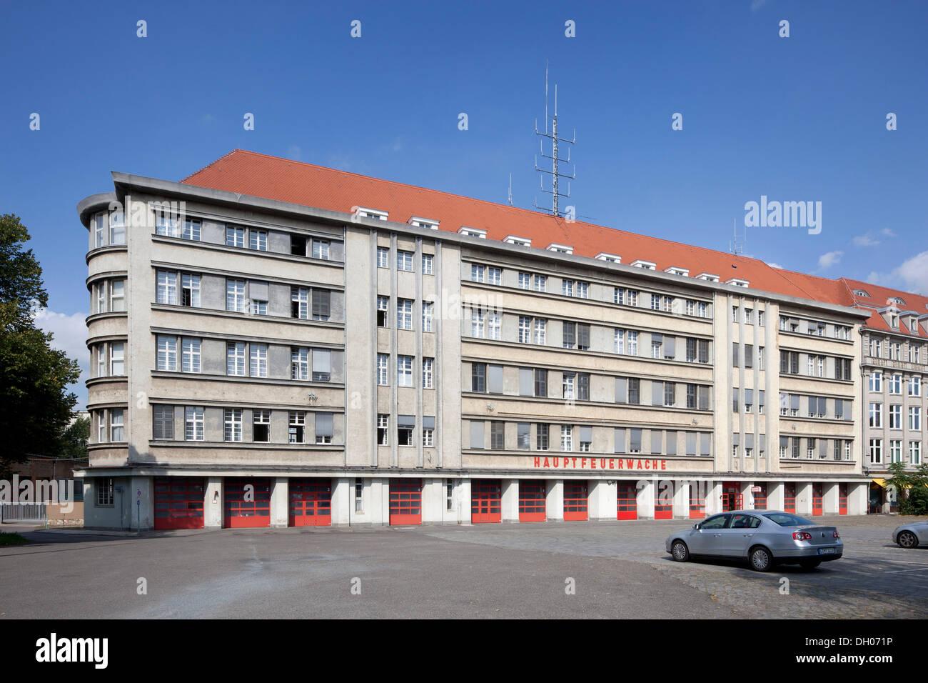 Main fire station, Leipzig, PublicGround - Stock Image