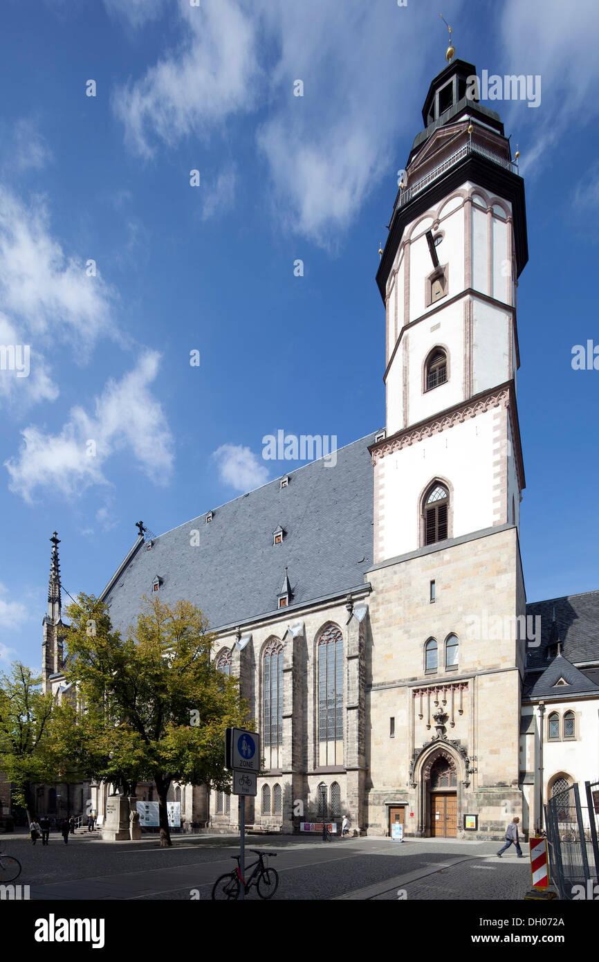 Thomaskirche church, Leipzig, Saxony, PublicGround - Stock Image