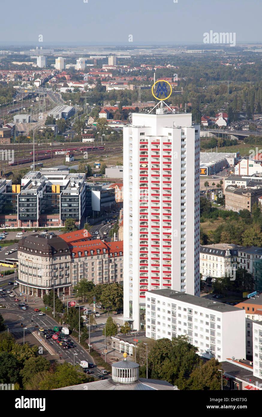 Wintergarten-Hochhaus high-rise building, Leipzig, PublicGround - Stock Image