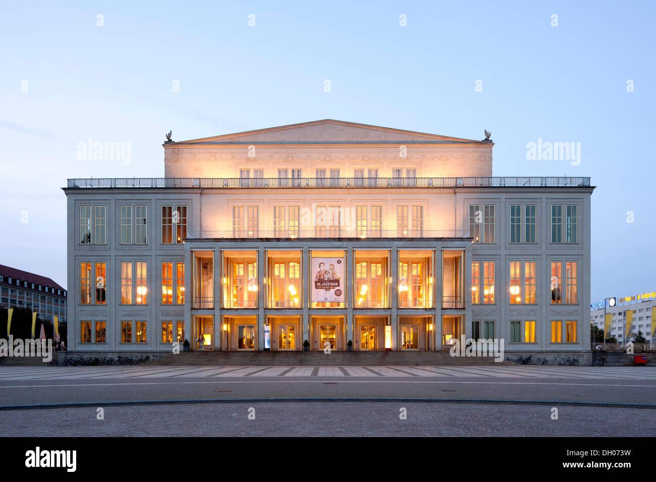 Opera house, Leipzig, PublicGround - Stock Image