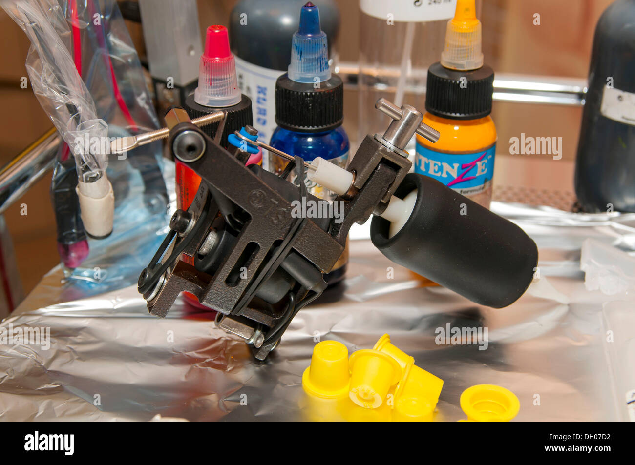 Workplace with a Micky Sharpz Model 007 Iron Hybrid tattoo machine
