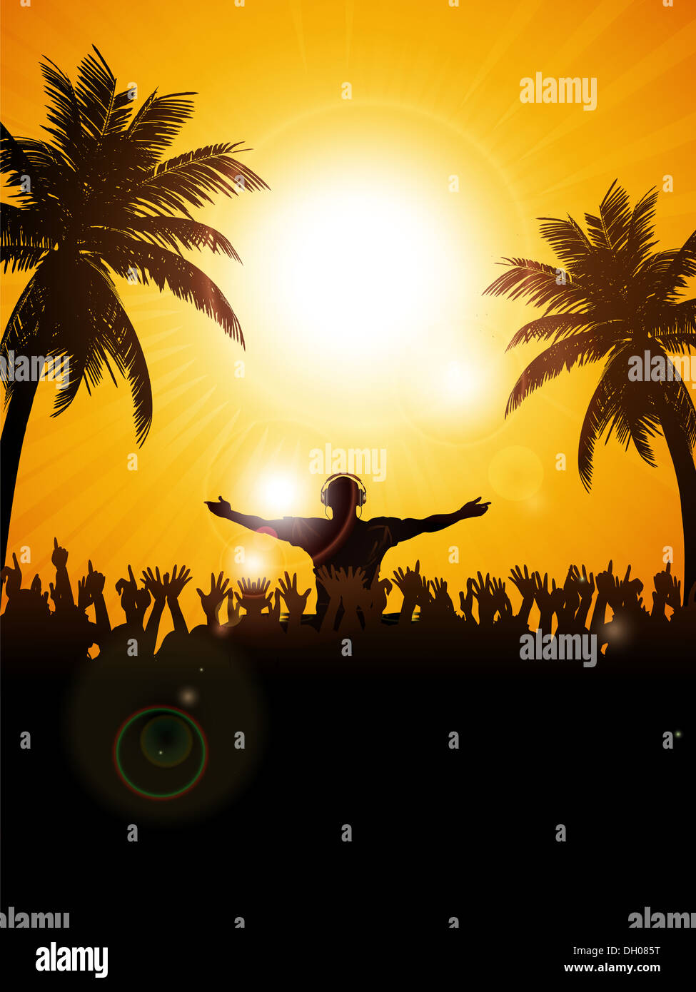 Summer Festival Background With DJ Crowd And Palm Trees