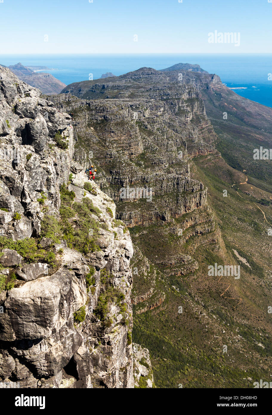 Climbers on face of Table Mountain above Cape Town in South Africa Stock Photo