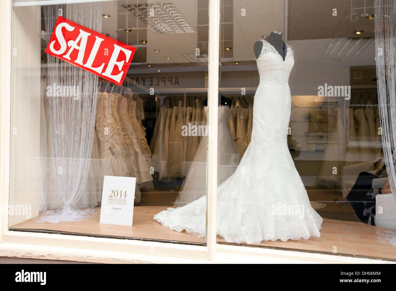 Sale Sign In A Bridalwear Wedding Shop Window Norwich Norfolk UK