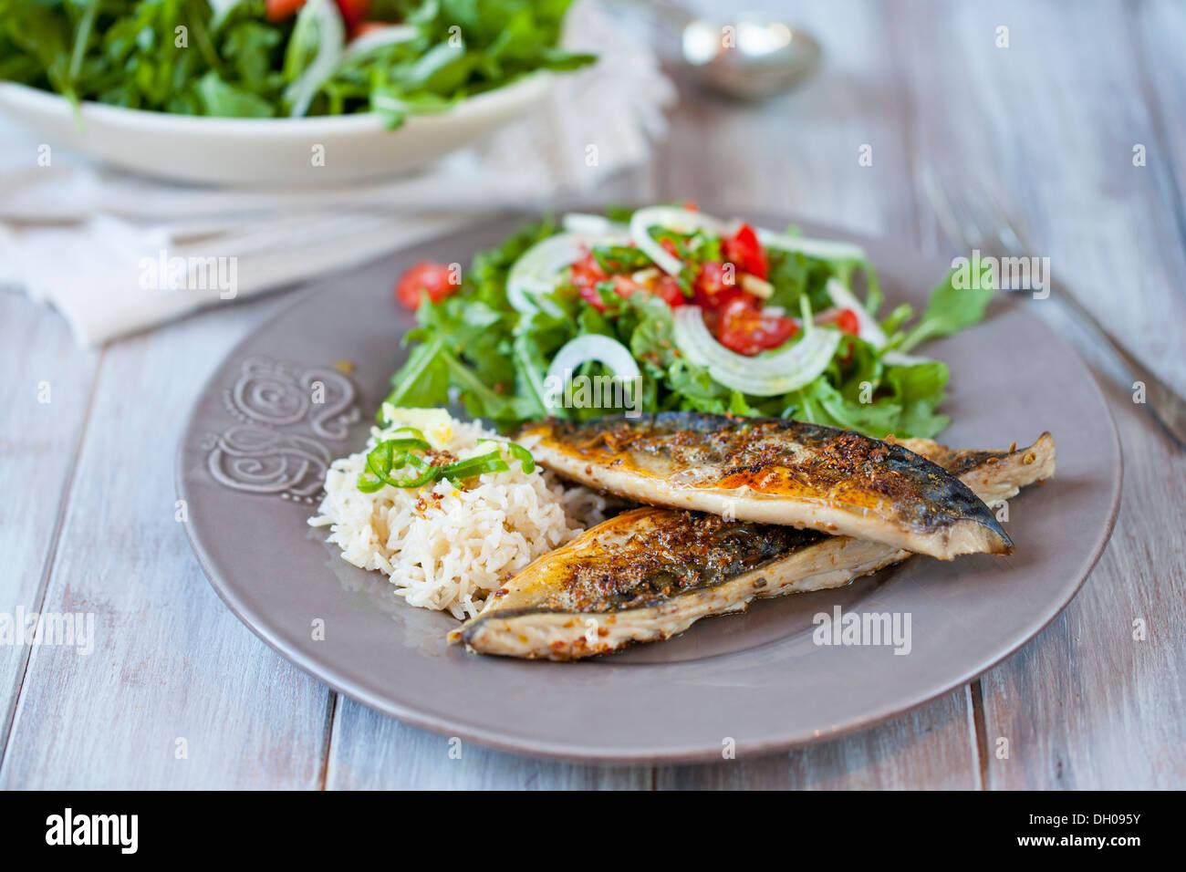 Spicy mackerel fillets - Stock Image