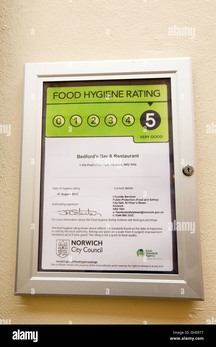 Food Hygiene rating sign scoring a maximum 5, Norwich, Norfolk UK - Stock Image