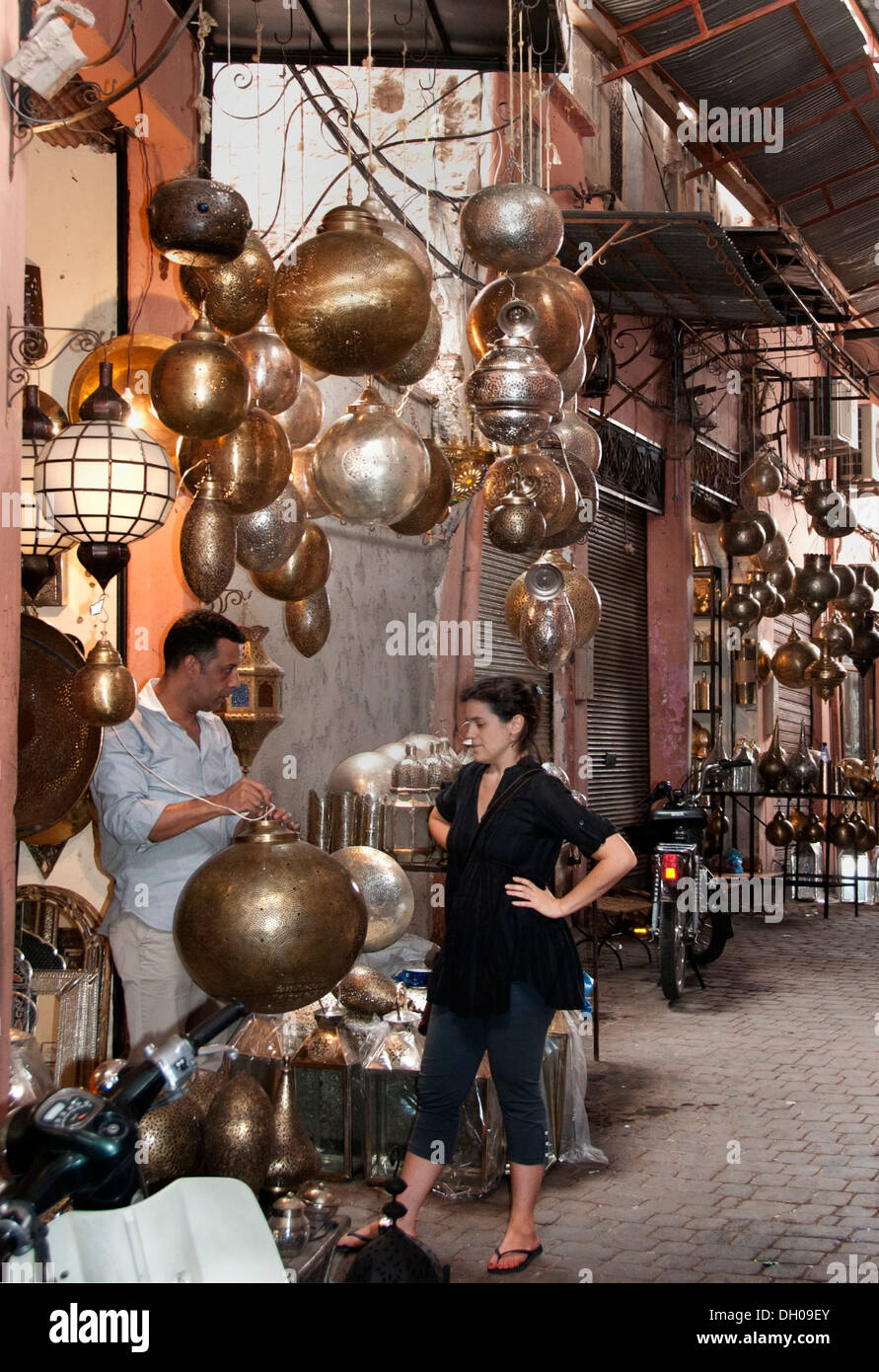 Antique  Lamps Shop Marrakesh Morocco Medina Souk Market - Stock Image