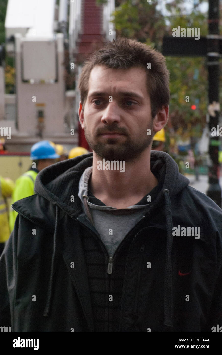 Hounslow, London, UK. 28th October 2013. Local Hounslow resident Alex Modzelewski, 28, helped one of the female victims from the destroyed buildings to safety. Three people were taken to hospital and two people were confirmed dead Credit:  Peter Manning/Alamy Live News - Stock Image