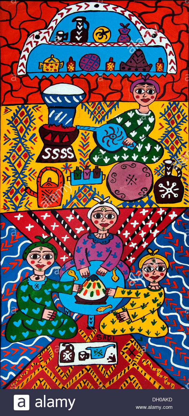 Primitive family painting art shop gallery Marrakesh Morocco - Stock Image