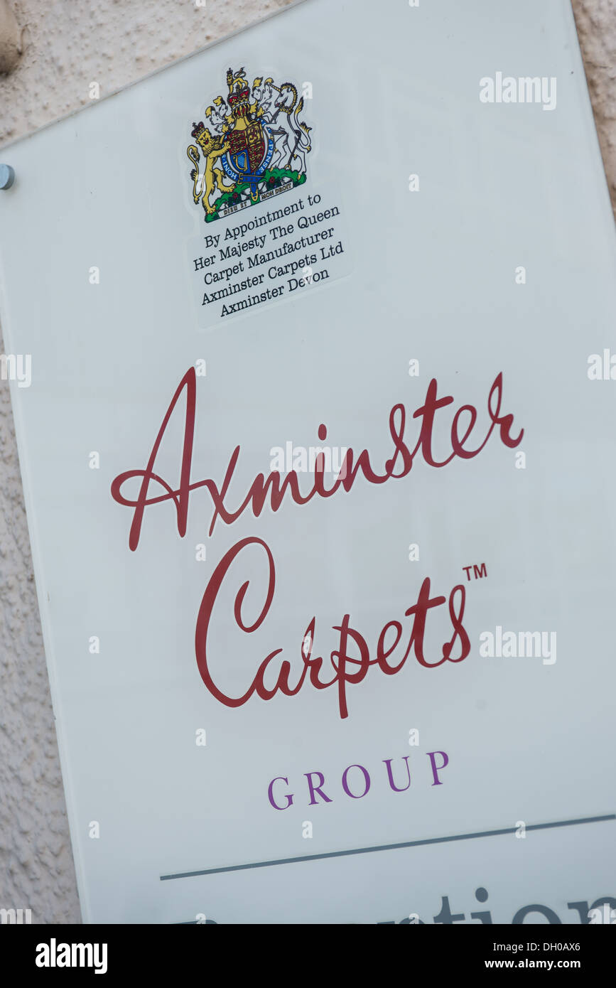 Plaque at the entrance to the Axminster carpets factory - Stock Image