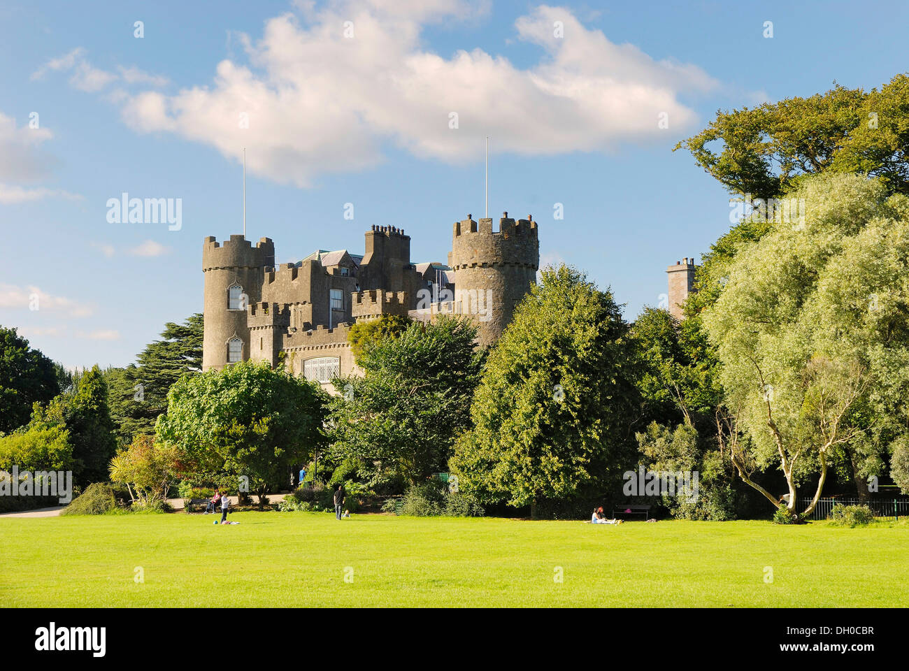 Palace gardens of Malahide Castle in Malahide, County Fingal, Republik of Ireland, Europe - Stock Image