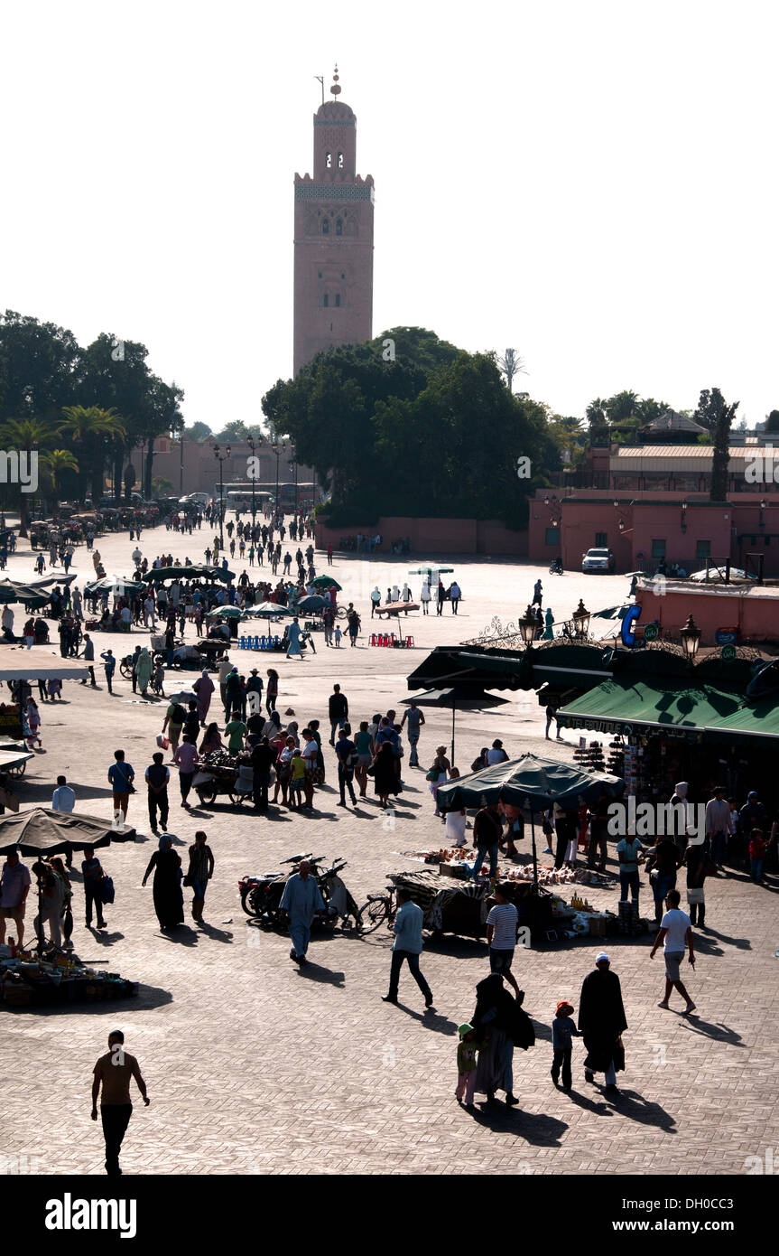 Jamaa el Fna is a square and market place in Marrakesh's Medina quarter (old city) Morocco - Stock Image