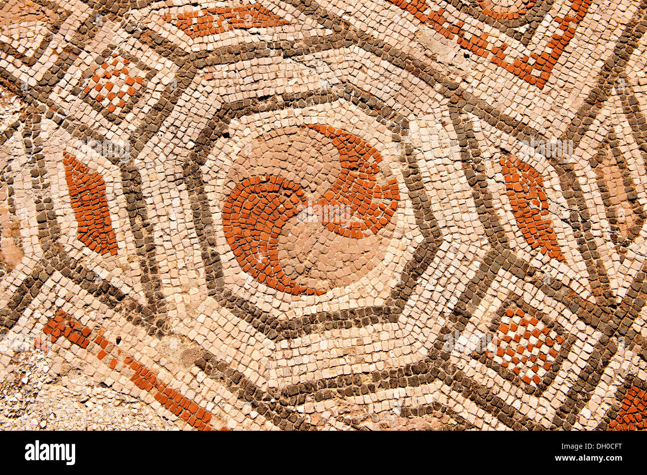4th cent. AD geometric floor mosaics of the late Roman period Jewish synagogue of Sardis archaeological site, Turkey - Stock Image