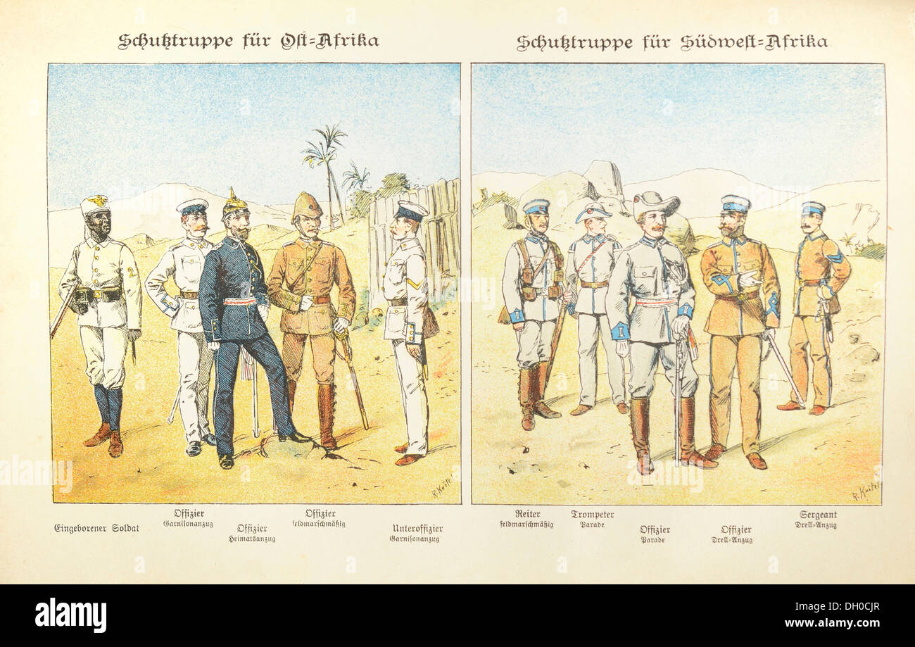 Illustration, lithography, uniforms of Imperial German colonial soldiers in East Africa and South-west Africa, late 19th century - Stock Image
