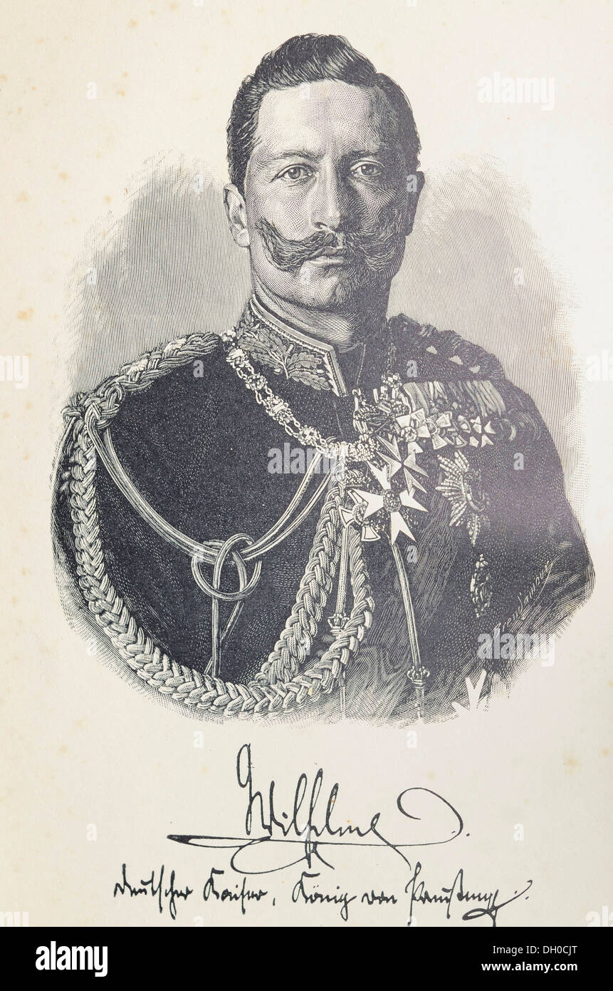 Illustration, lithography, portrait of Kaiser Friedrich Wilhelm II with a facsimile signature, after the original photography by - Stock Image
