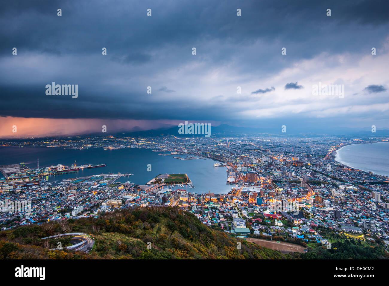 Hakodate, Japan viewed from Hakodate Mountain. - Stock Image