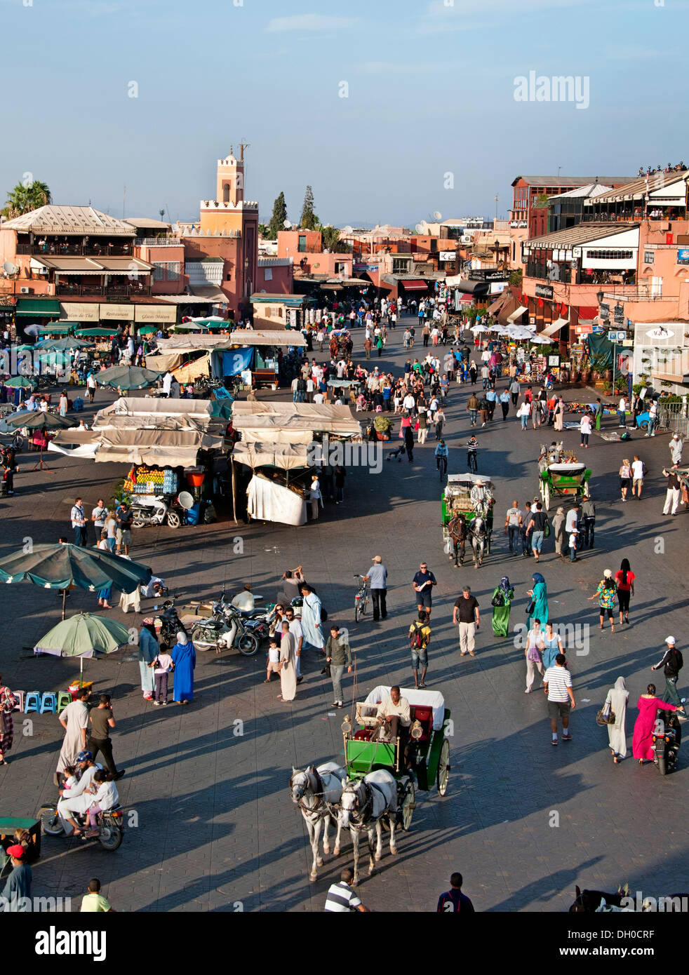 Jamaa el Fna is a square and market place in Marrakesh's Medina quarter (old city) Morocco Stock Photo