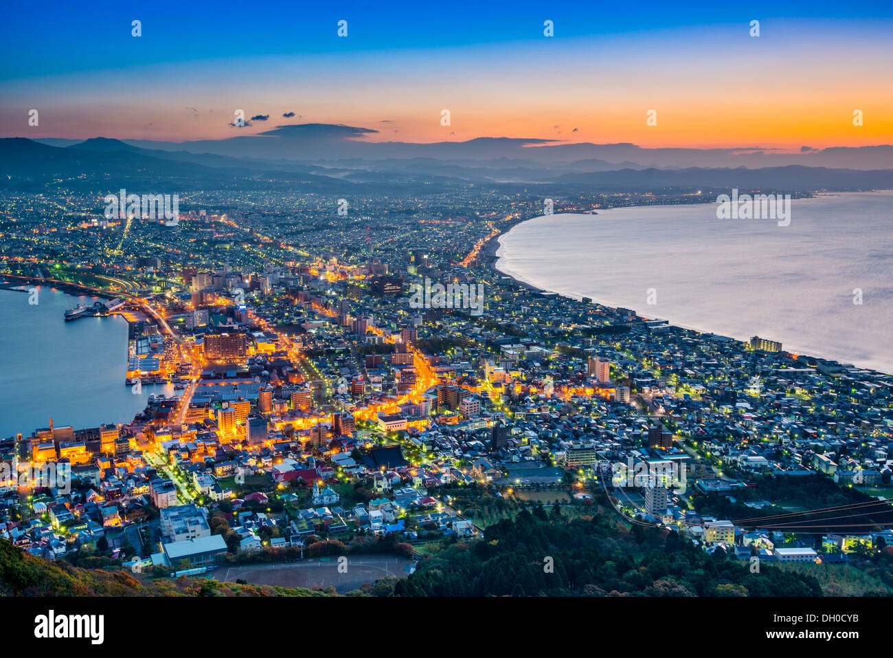 Hakodate, Japan viewed from Hakodate Mountain. - Stock Image