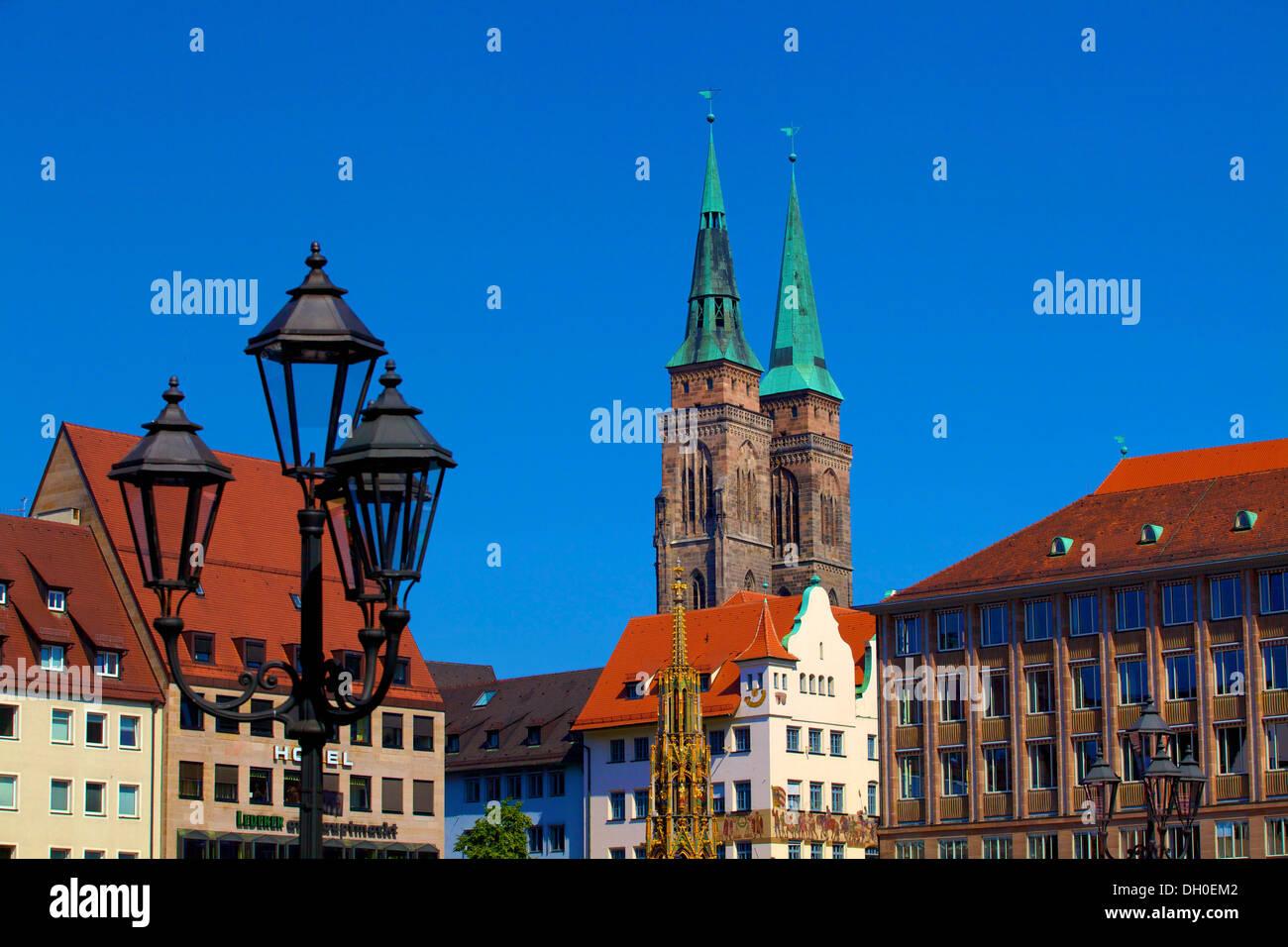 Schoener Brunnen Fountain, Market Square and St. Sebaldus Church, Nuremberg, Bavaria, Germany, Europe Stock Photo