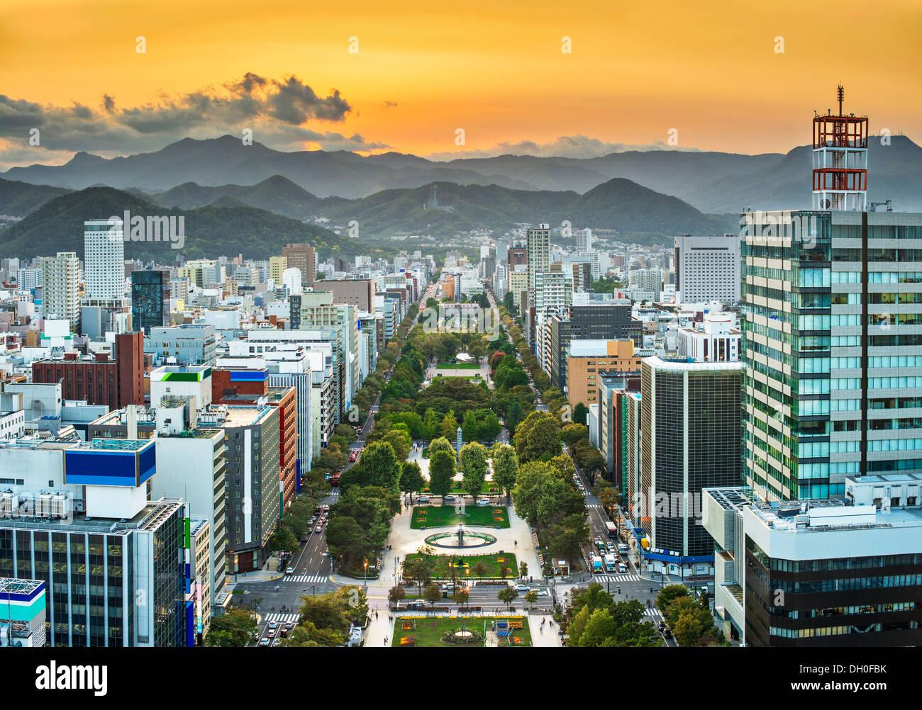 Cityscape of Sapporo, Japan at odori Park. - Stock Image