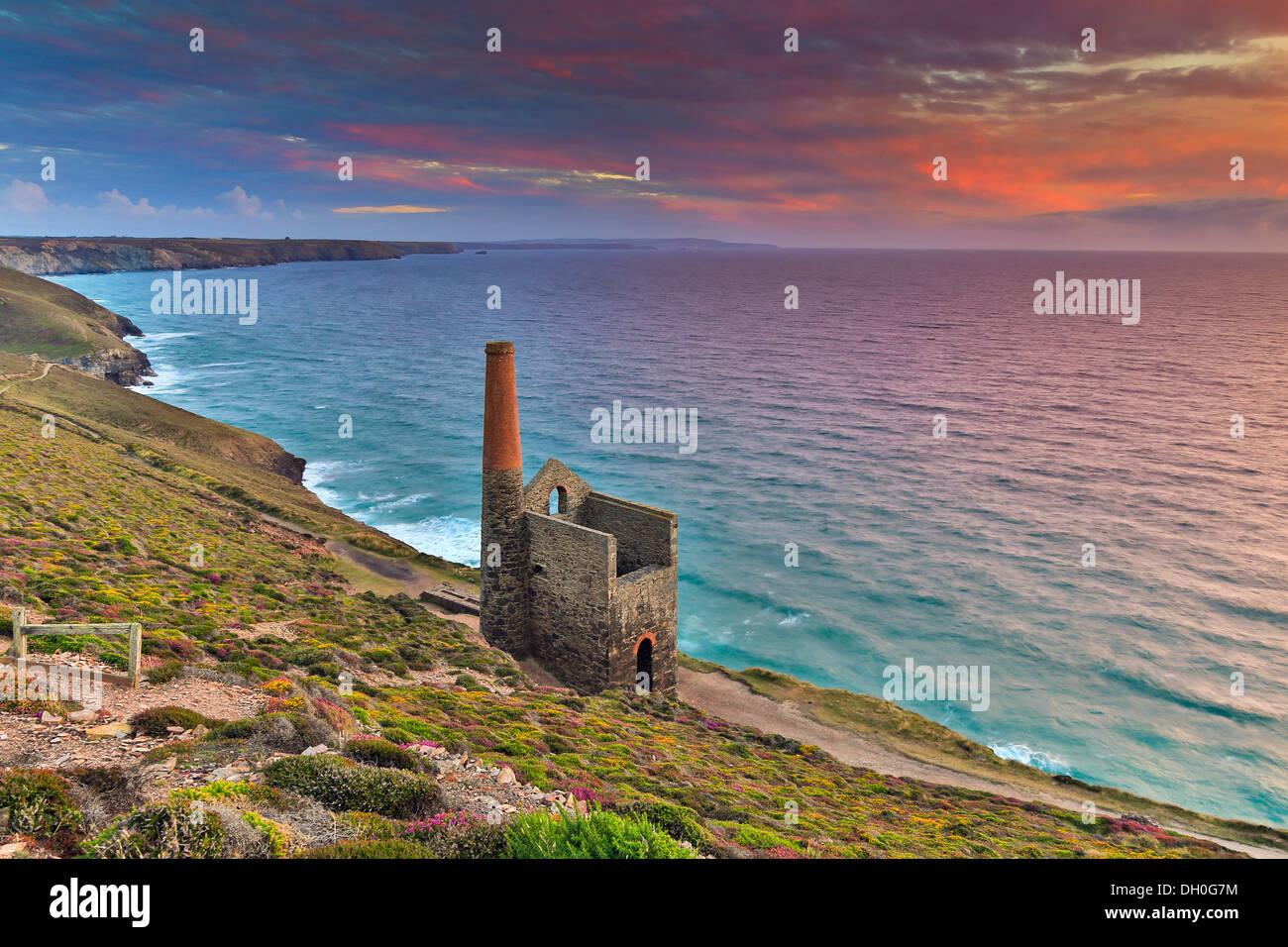 Wheal Coates; Sunset; St Agnes; Cornwall; UK - Stock Image