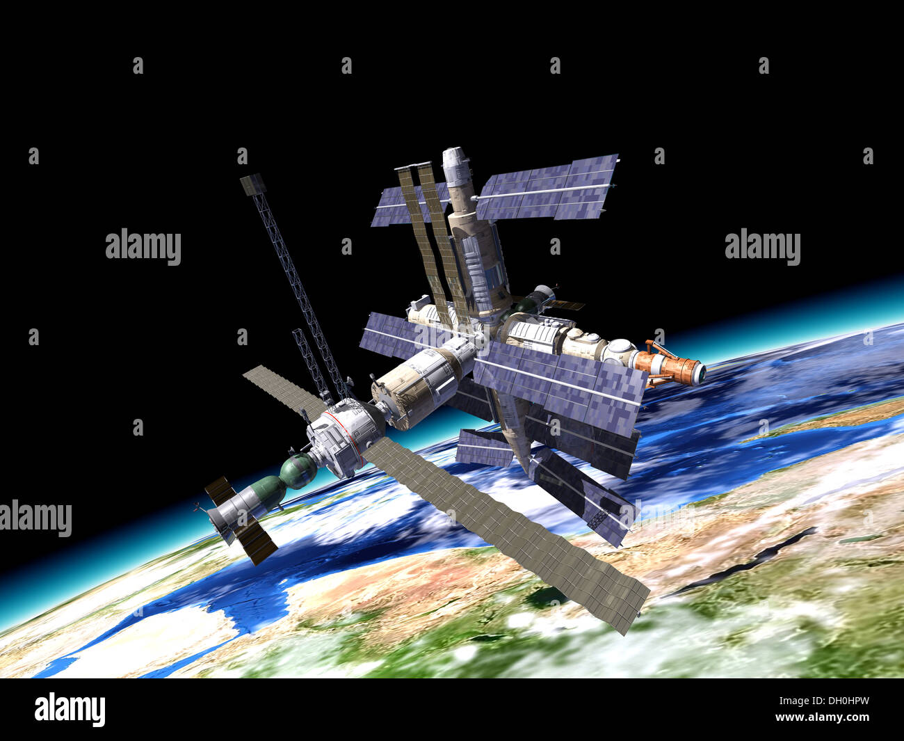 Mir Russian Space Station In Orbit On The Earth With Close Up