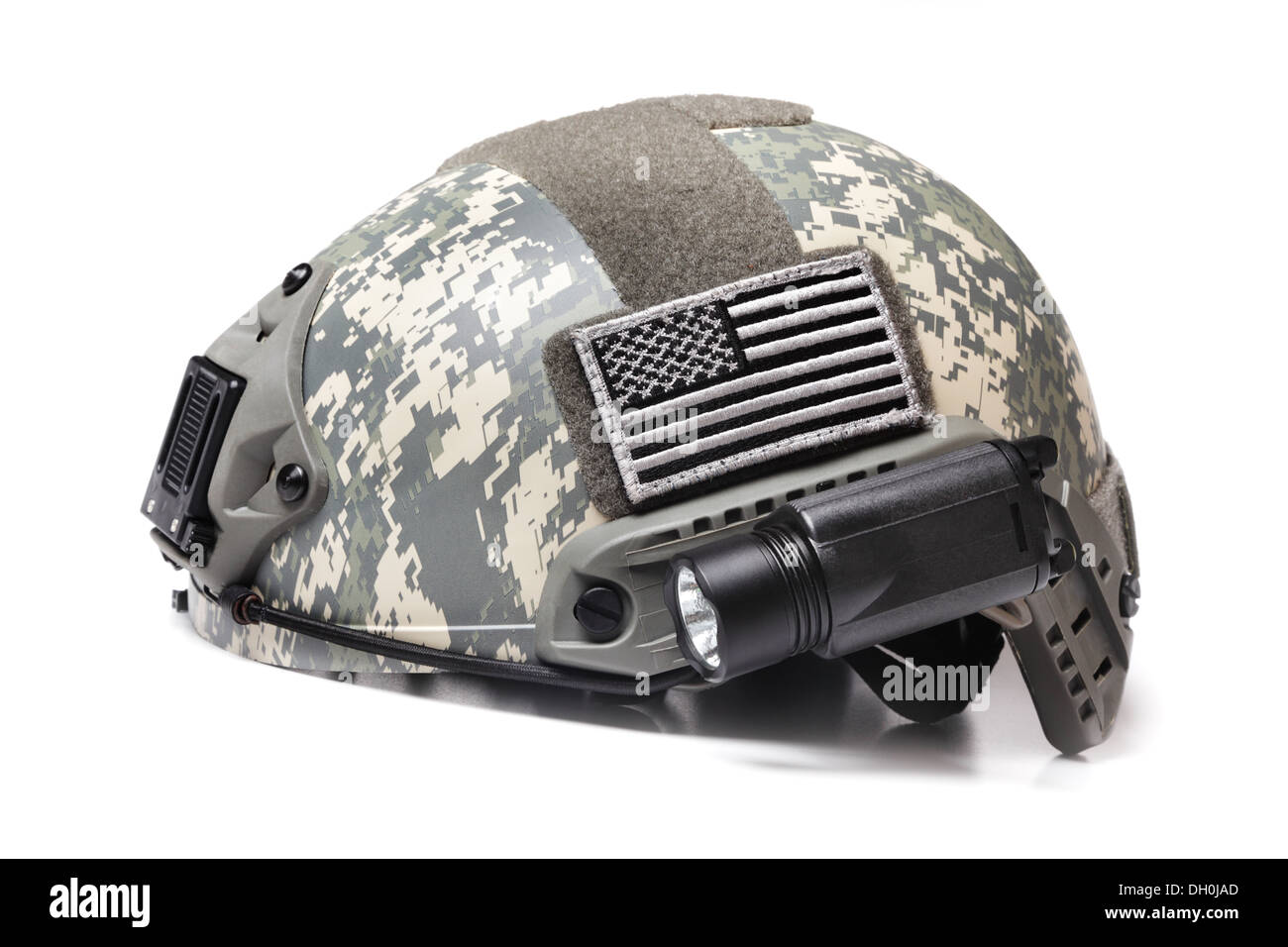 Modern Spec Ops Acupat Camo Helmet with USA Flag Patch Isolated on White - Stock Image
