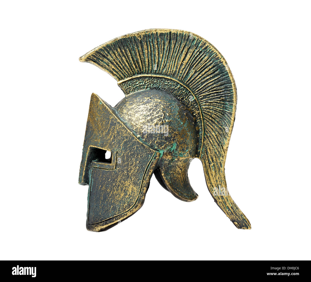 Ancient Greek Helmet Spartan Style Isolated on White - Stock Image