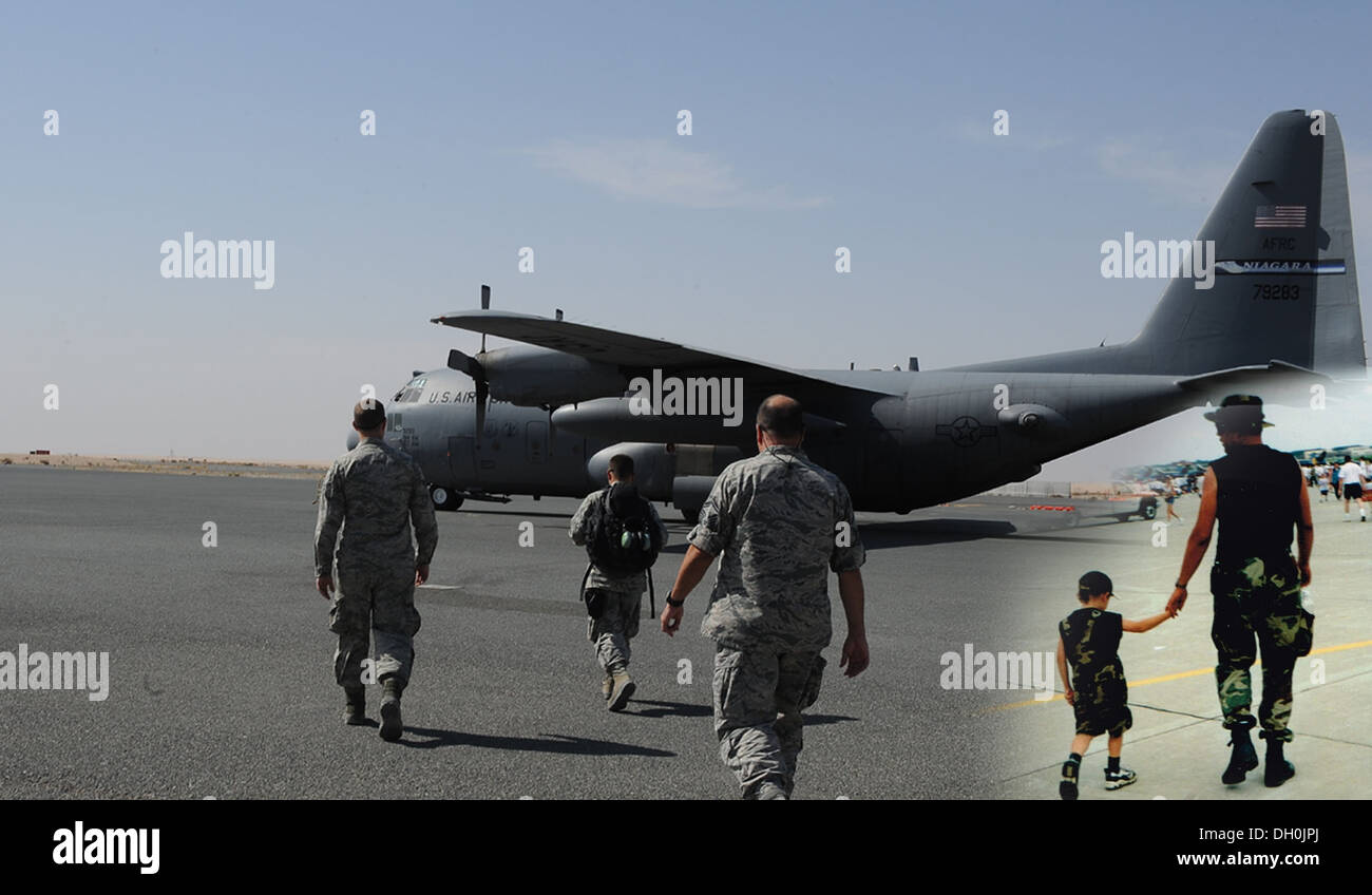 (Inset) Steven Buchwald has gone from holding his son Travis' hand on the flightline to his son leading the way. (From left to r - Stock Image