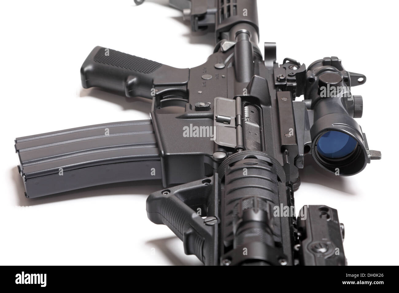 M4A1 (AR-15) carbine with optical sight close-up Stock Photo