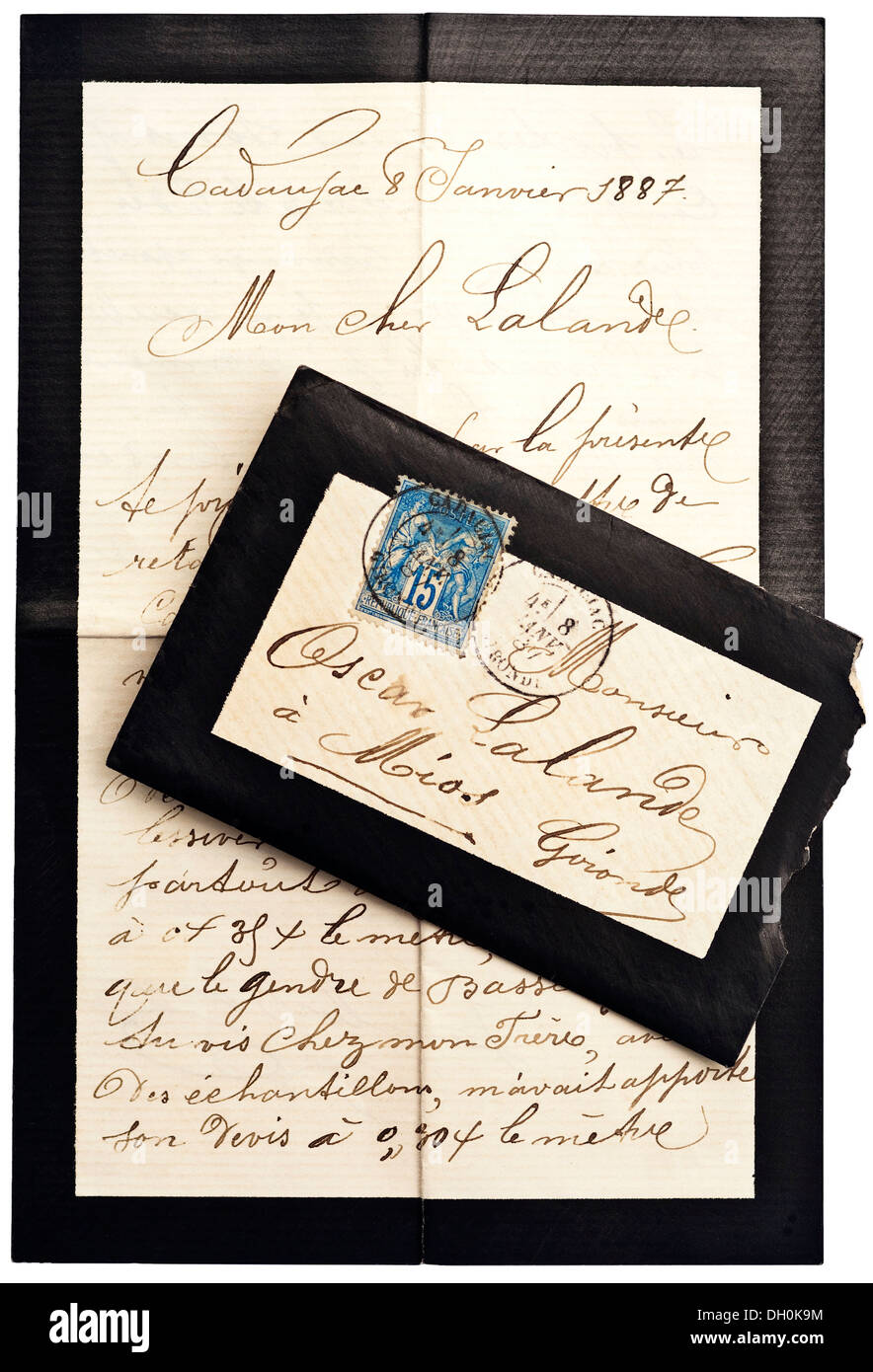 French Mourning Envelope And Enclosed Letter Of Condolences