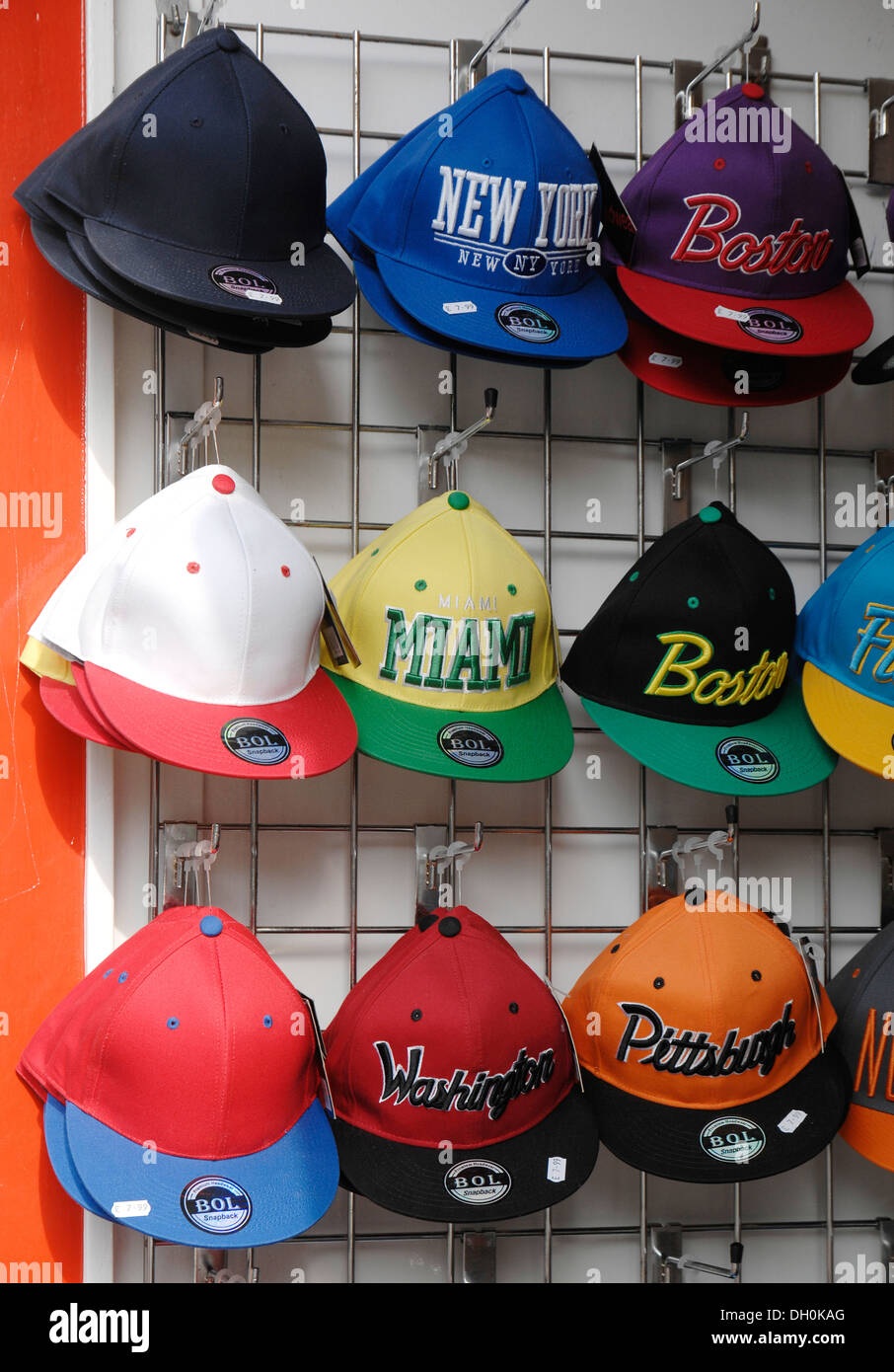 Baseball Caps Display In Shop Stock Photo 62095448 Alamy