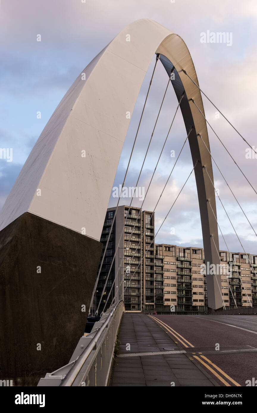 The Clyde Arc road bridge over the River Clyde which connects Finnieston and Pacific Quay in the city of Glasgow, Scotland Stock Photo