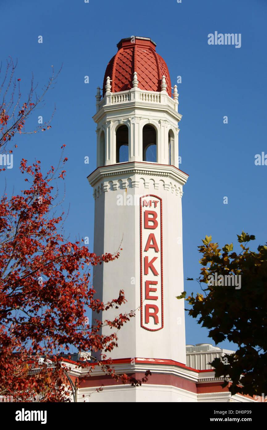 Moorish-Spanish style tower of the Mount Baker Theater in the city of Bellingham, Washington, USA - Stock Image