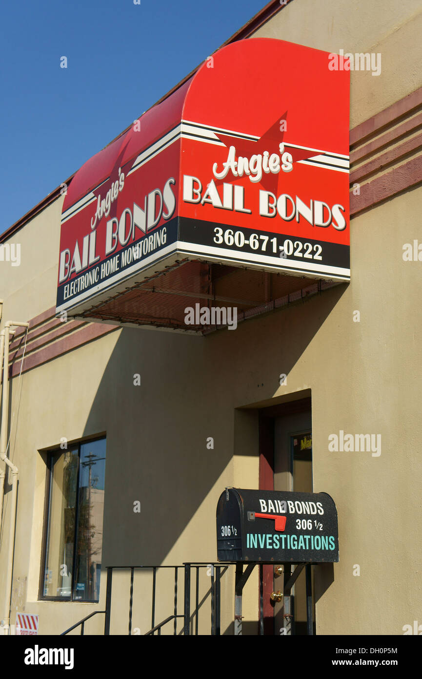 Bail Bonds storefront in the city of Bellingham, Washington, USA - Stock Image
