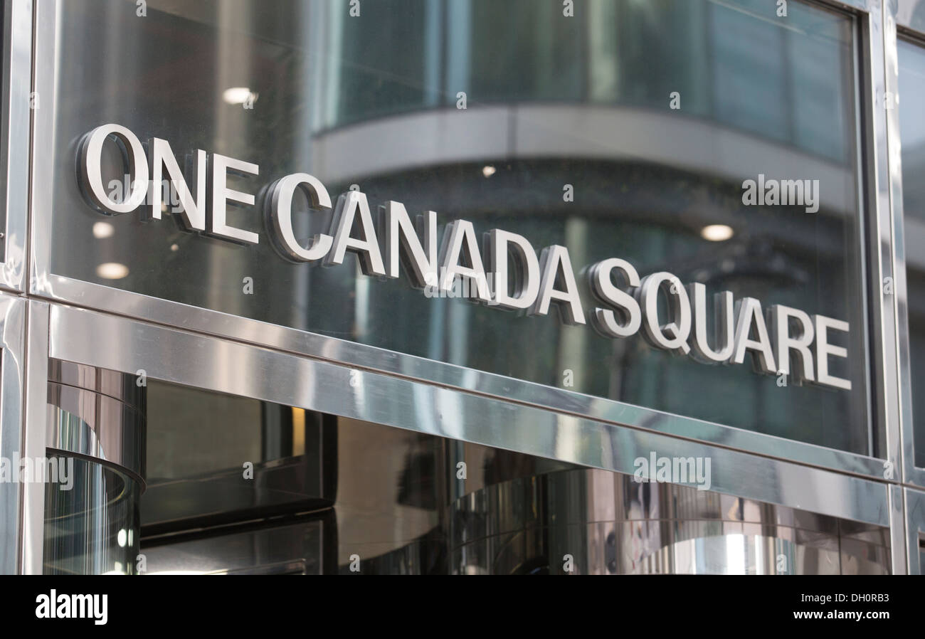 26/10/2013 One Canada Square, Canary Wharf, Docklands, London, England, UK - Stock Image